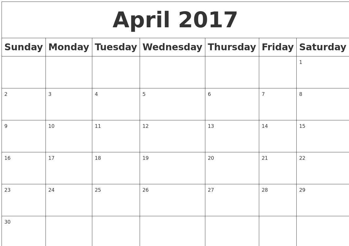 April 2017 Blank Calendar PDF's