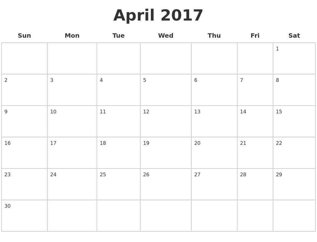 April 2017 Blank Calendar Pages