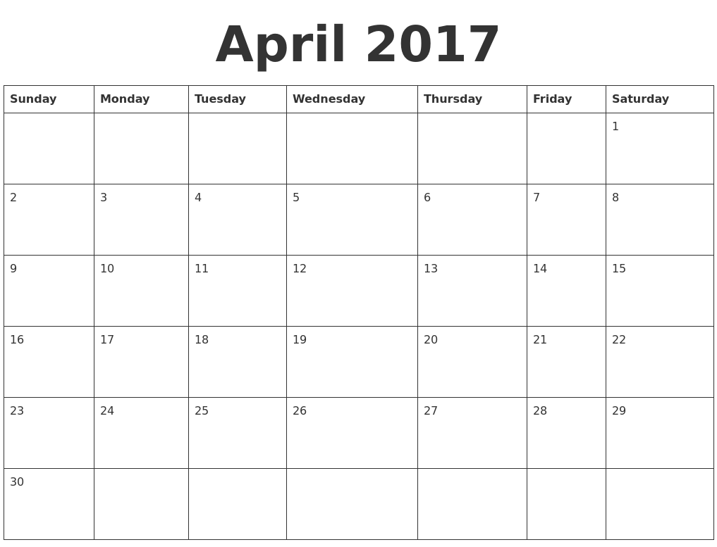 Weekly Calendar Template April : April blank calendar template