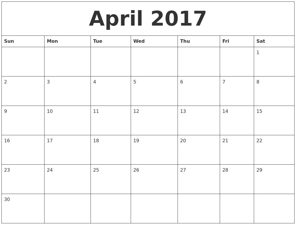 April 2017 Blank Calendar To Print