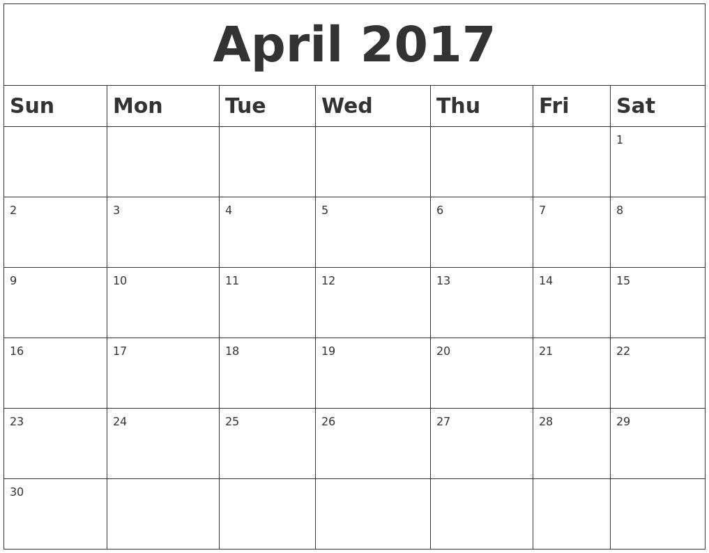 Calendar April Blank : April calendars