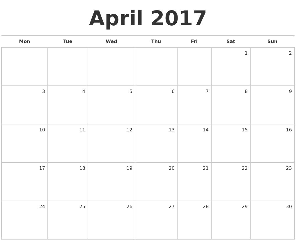 Calendar April Blank : April blank monthly calendar