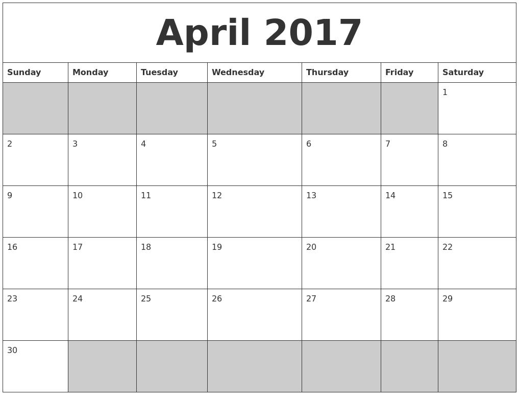 blank printable 2017 calendar