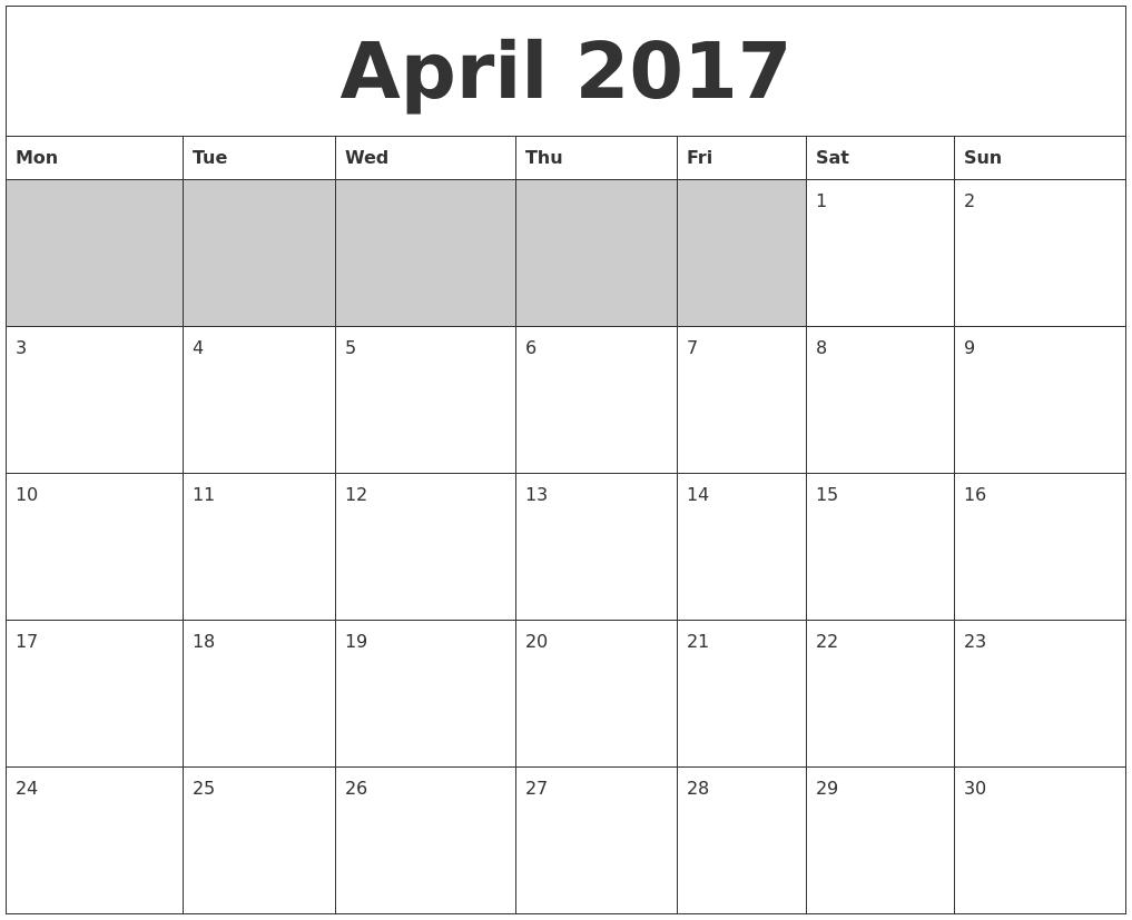 April 2017 Blank Printable Calendar PDF's
