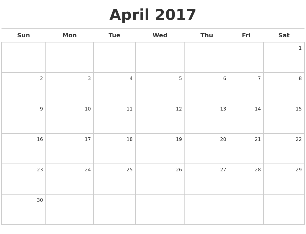 March 2017 Blank Monthly Calendar