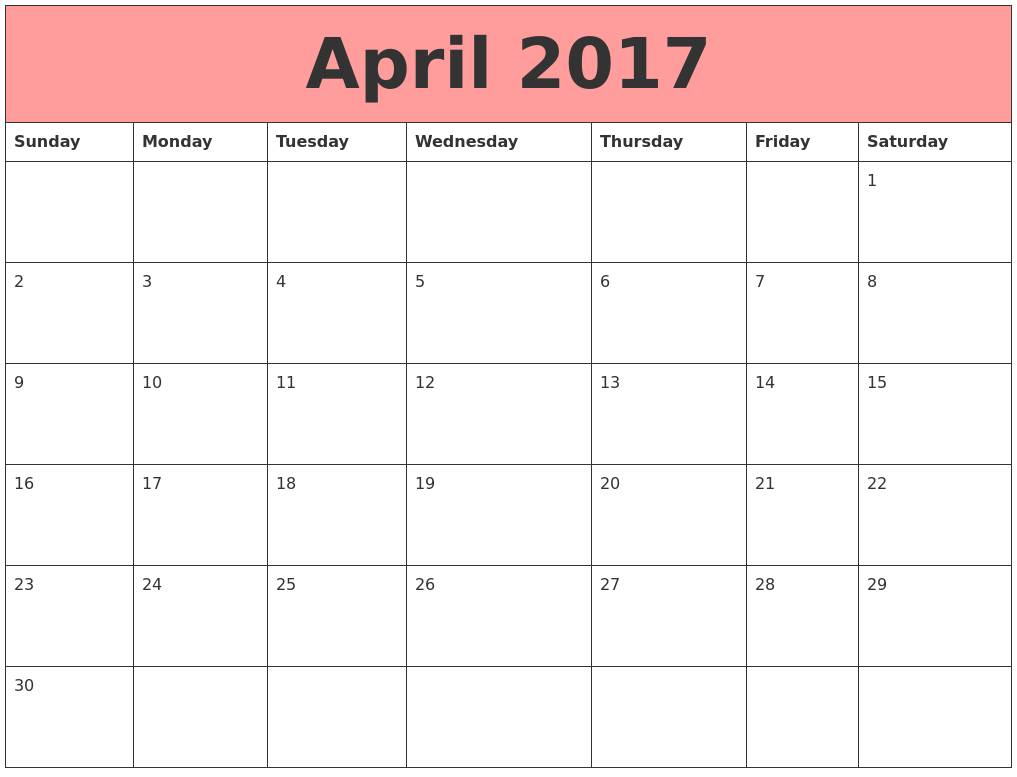 April 2017 Calendars That Work PDF's