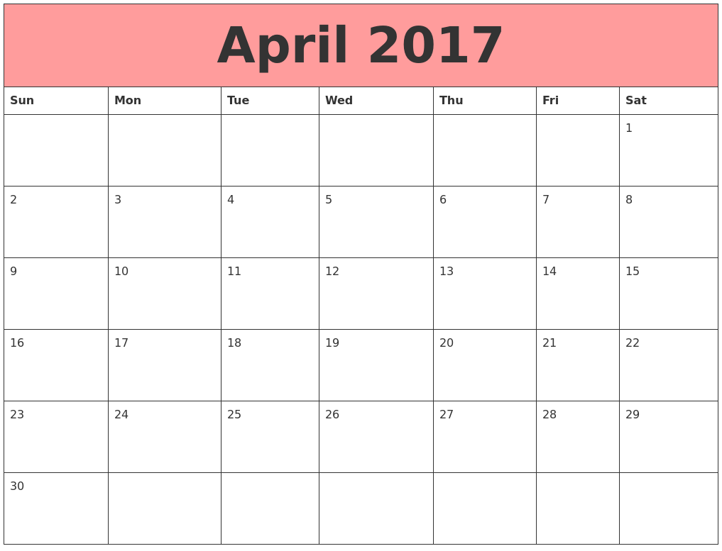 April 2017 Calendars That Work