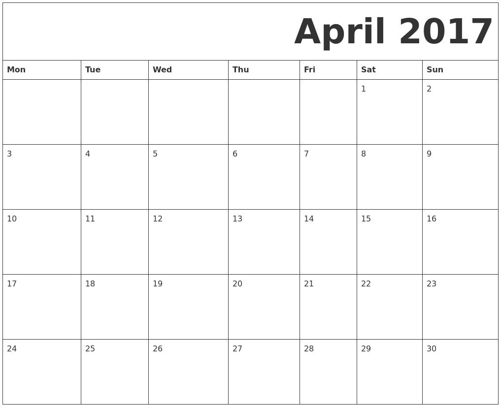April 2017 Free Printable Calendar PDF's