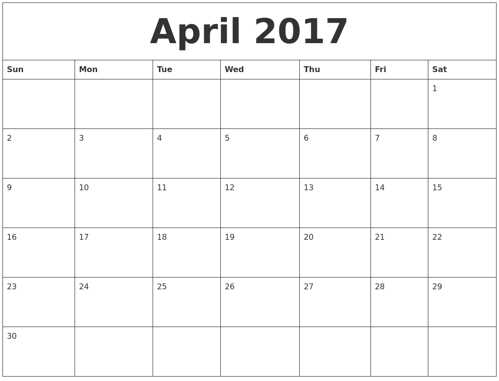 April 2017 Free Printable Calendar Templates