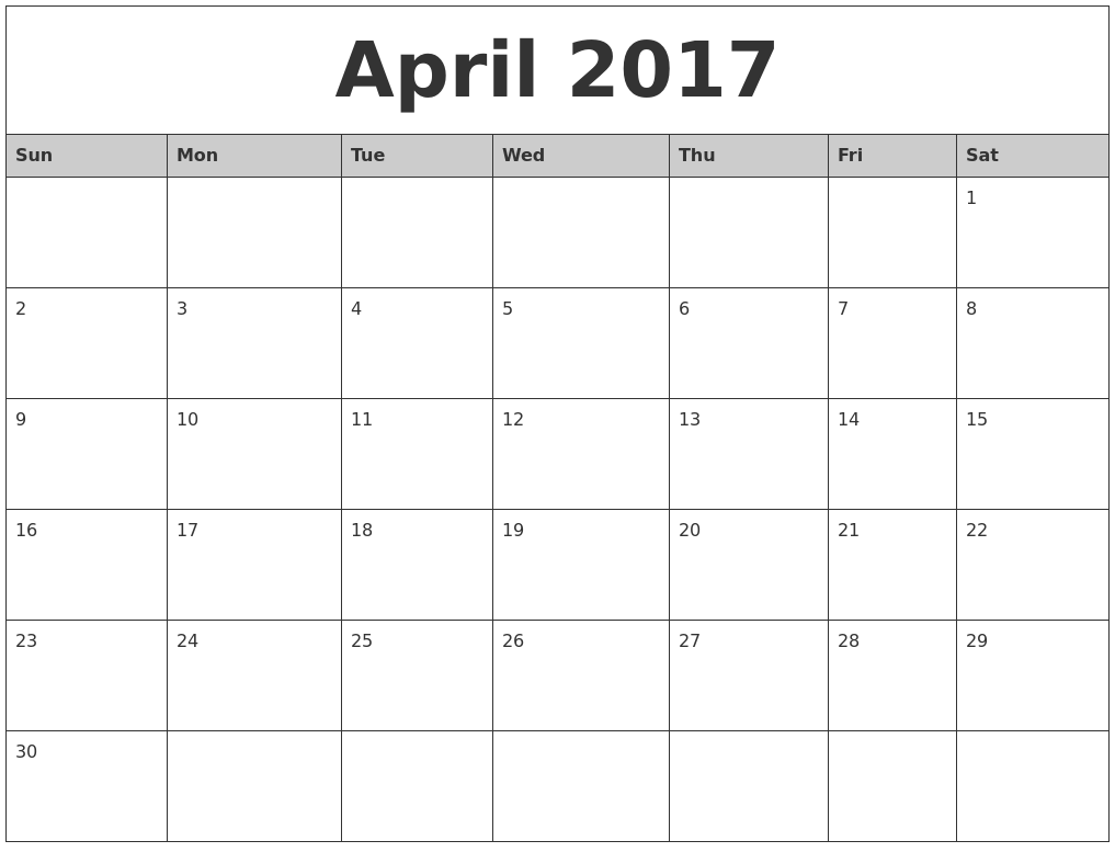 April 2017 Monthly Calendar Printable