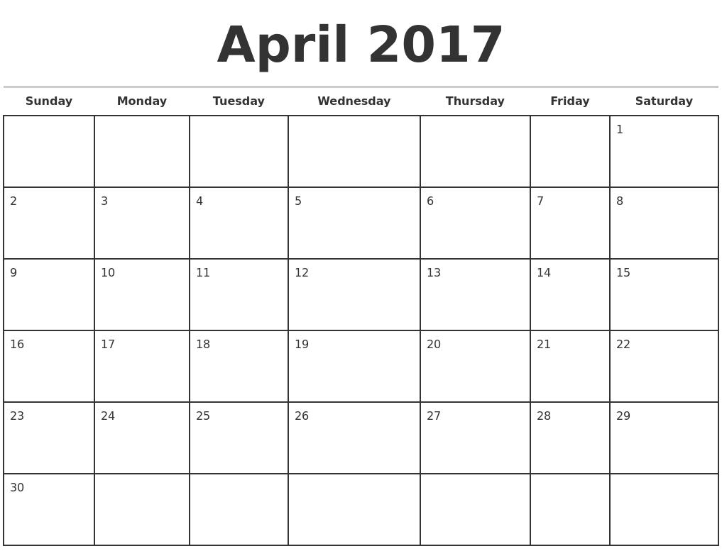 April 2017 Monthly Calendar Template PDF's