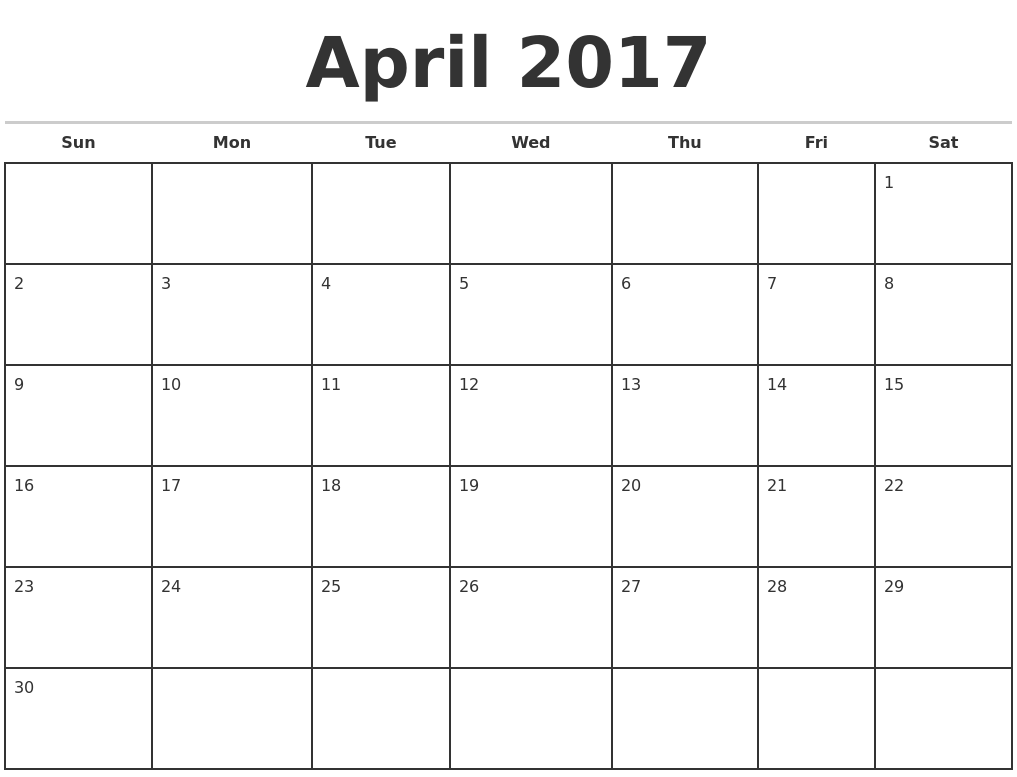 April 2017 Monthly Calendar Template