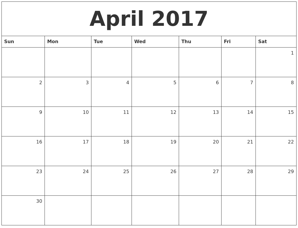 April 2017 Monthly Calendar