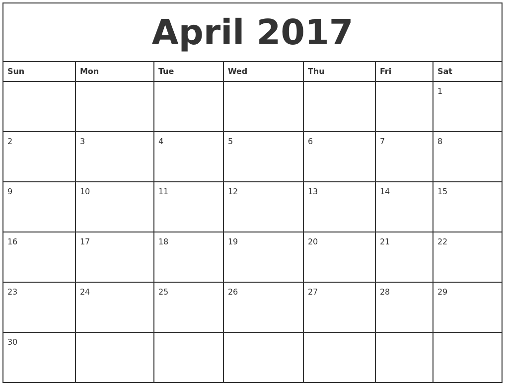 April 2017 Printable Monthly Calendar
