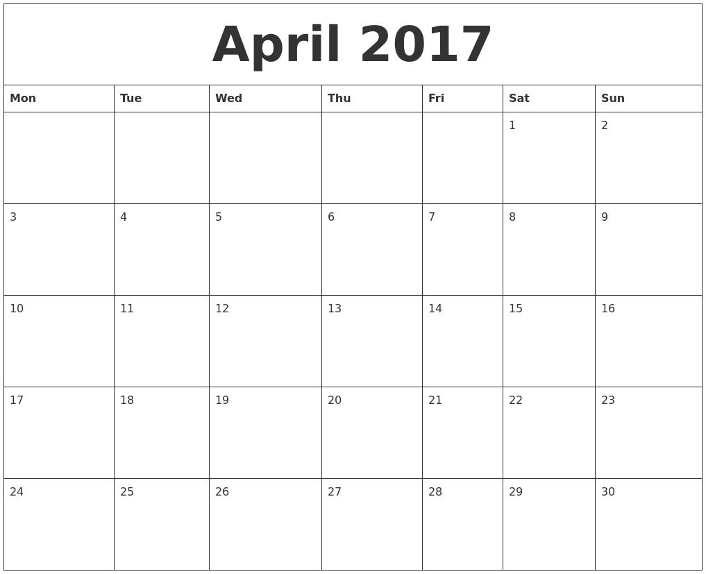 April 2017 Word Calendar PDF's