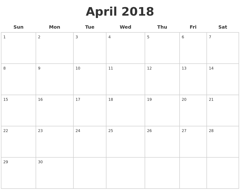 april 2018 blank calendar pages