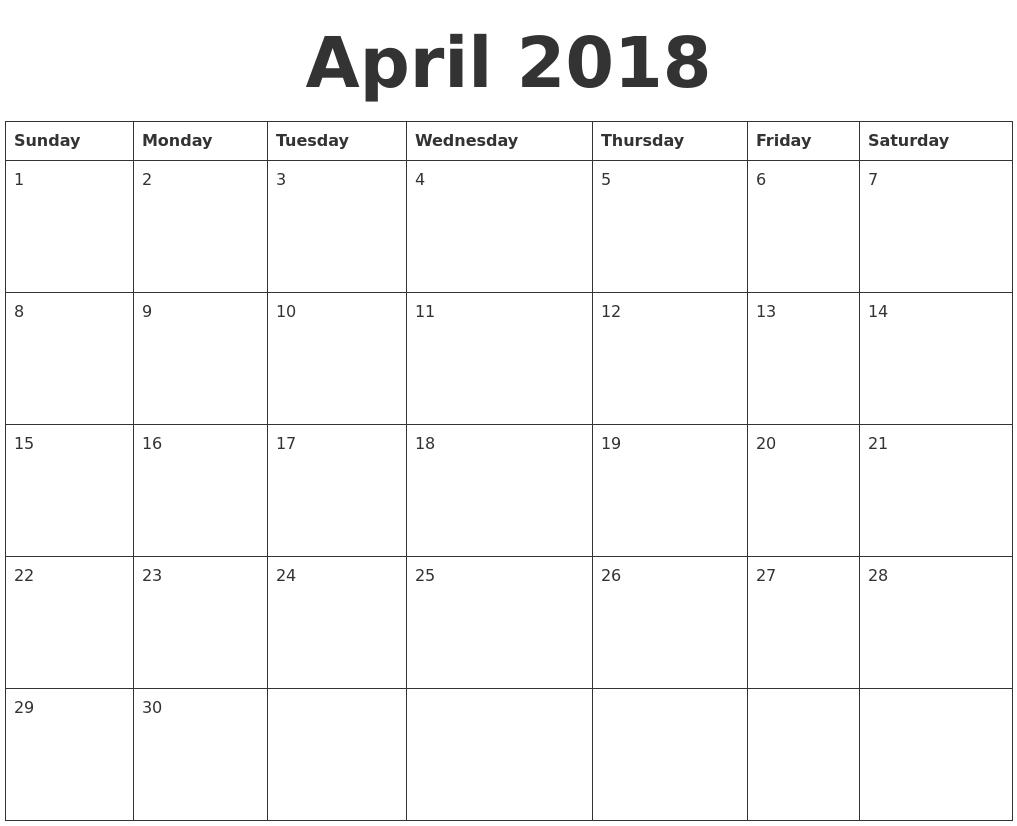 Blank Calendar April 2018 : April blank calendar template