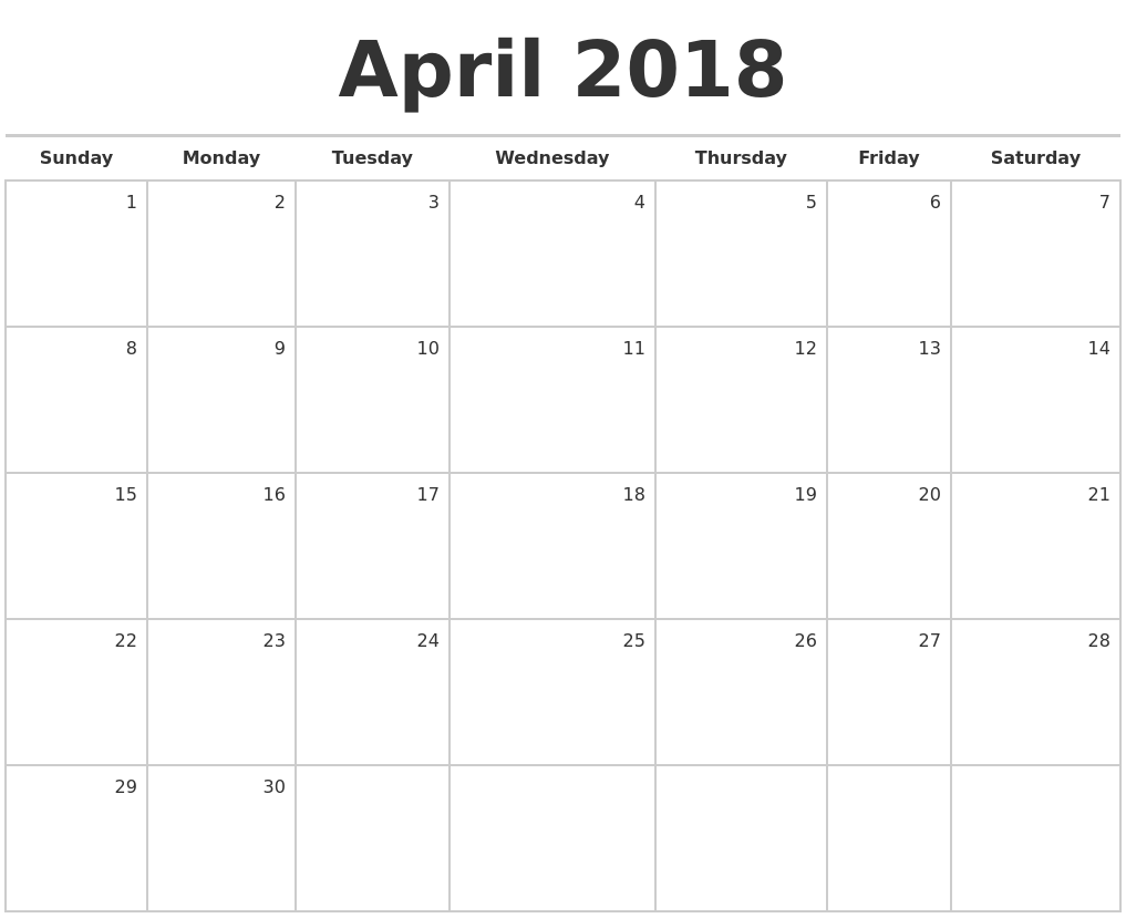 April 2018 Blank Monthly Calendar PDF's