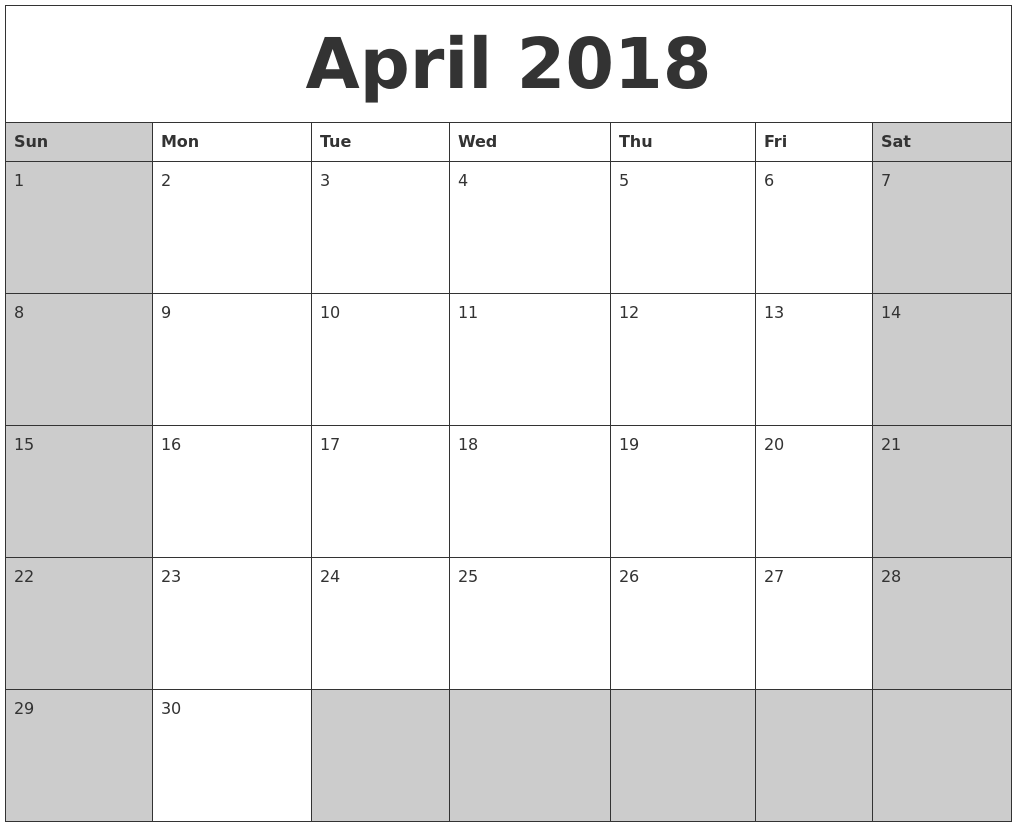 Calendar 2018 Printable March And April