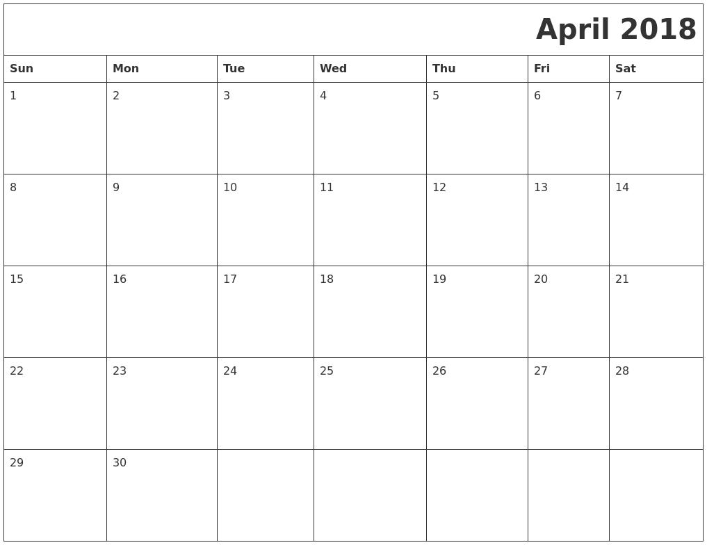 April 2018 Download Calendar