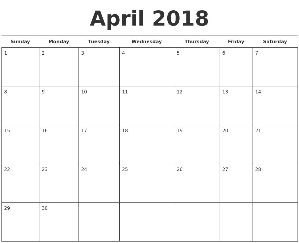2018 free calendar template april 2018 free calendar template pronofoot35fo Gallery