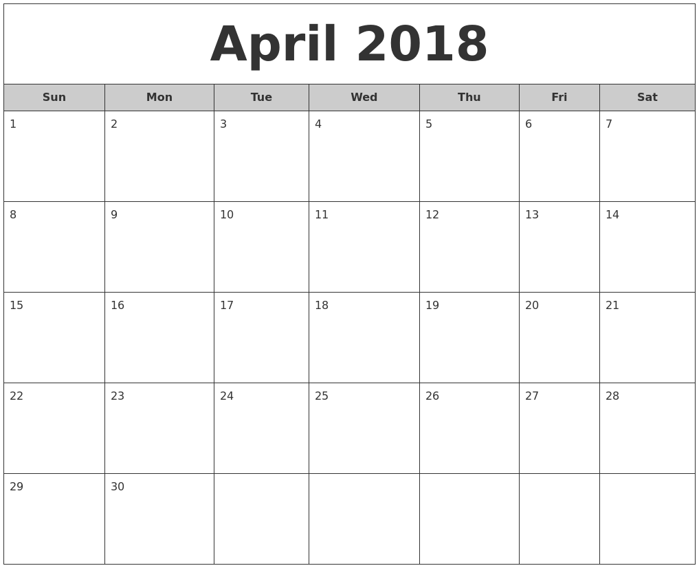 april 2018 free monthly calendar