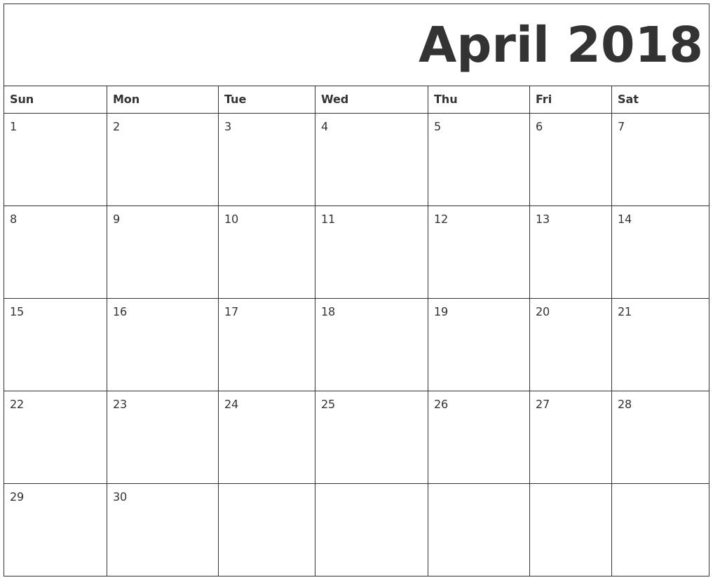 calendars 2018 free printable