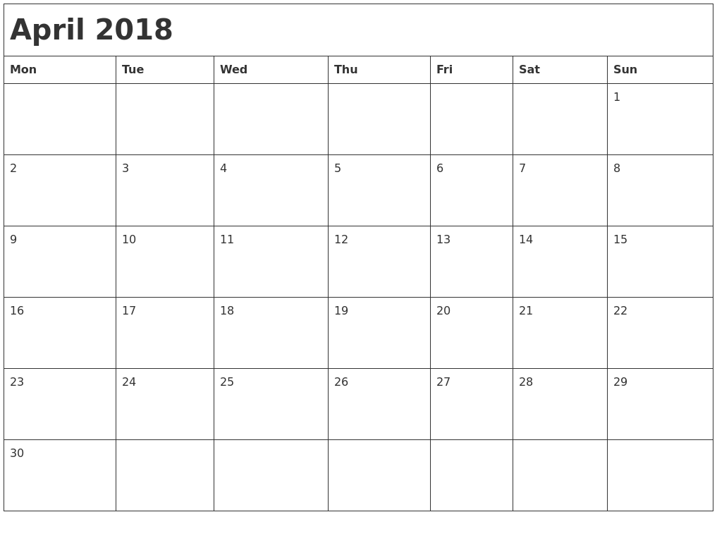calendar 2018 by month