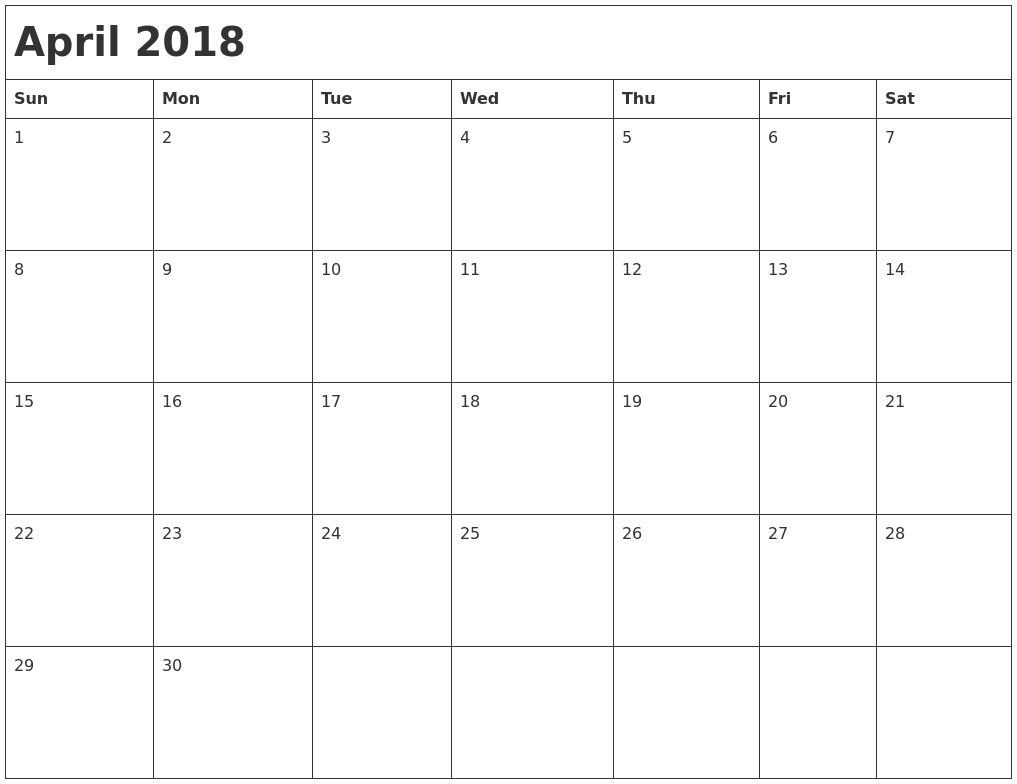 month of april calendar 2018