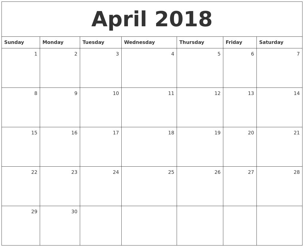 Calendar April 2018 : April monthly calendar