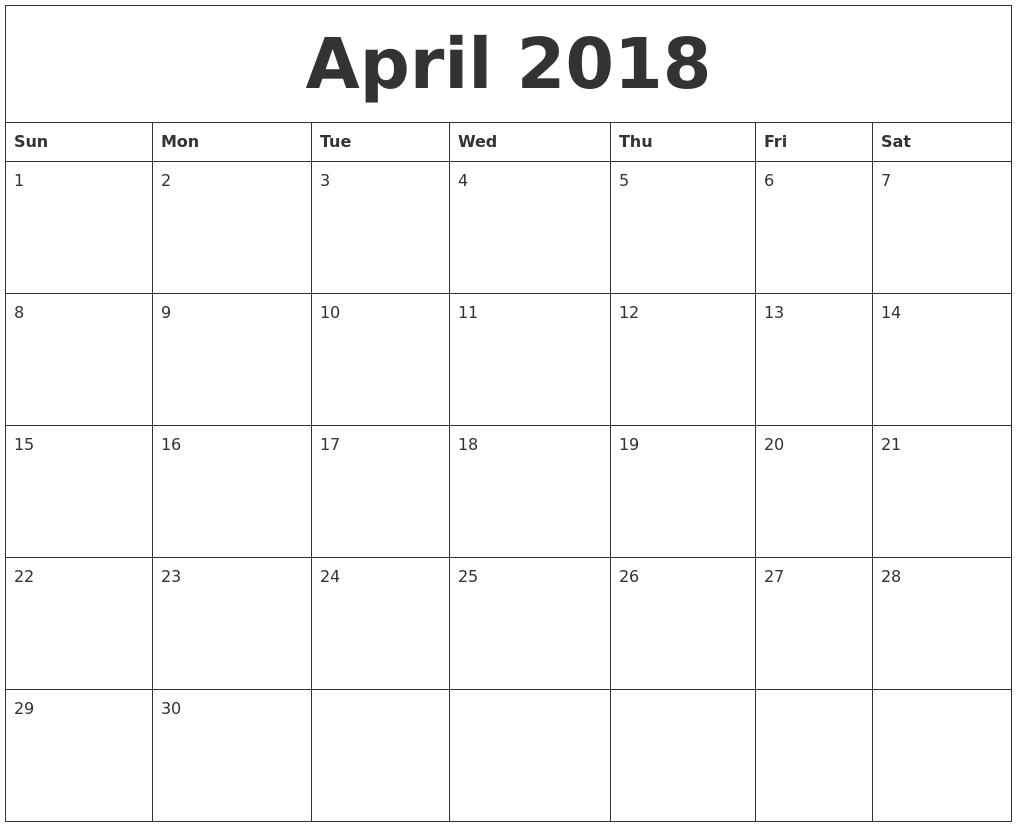 printable monthly calendar april 2018