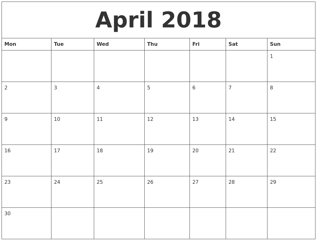 April 2018 Print Blank Calendar PDF's