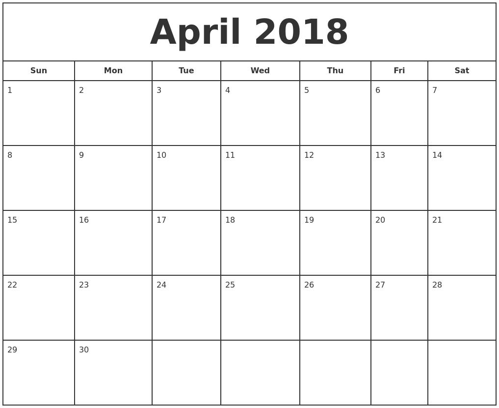 September 2018 Monthly Calendar Template