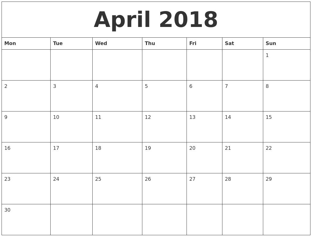 April 2018 Print Out Calendar