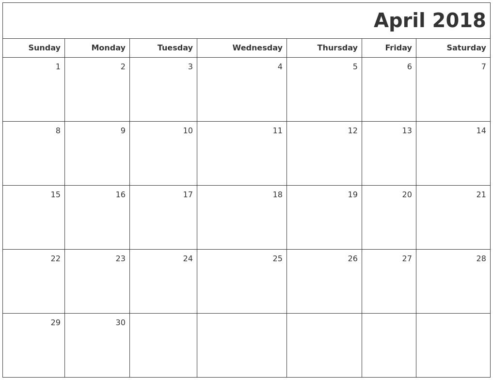 April 2018 Printable Blank Calendar