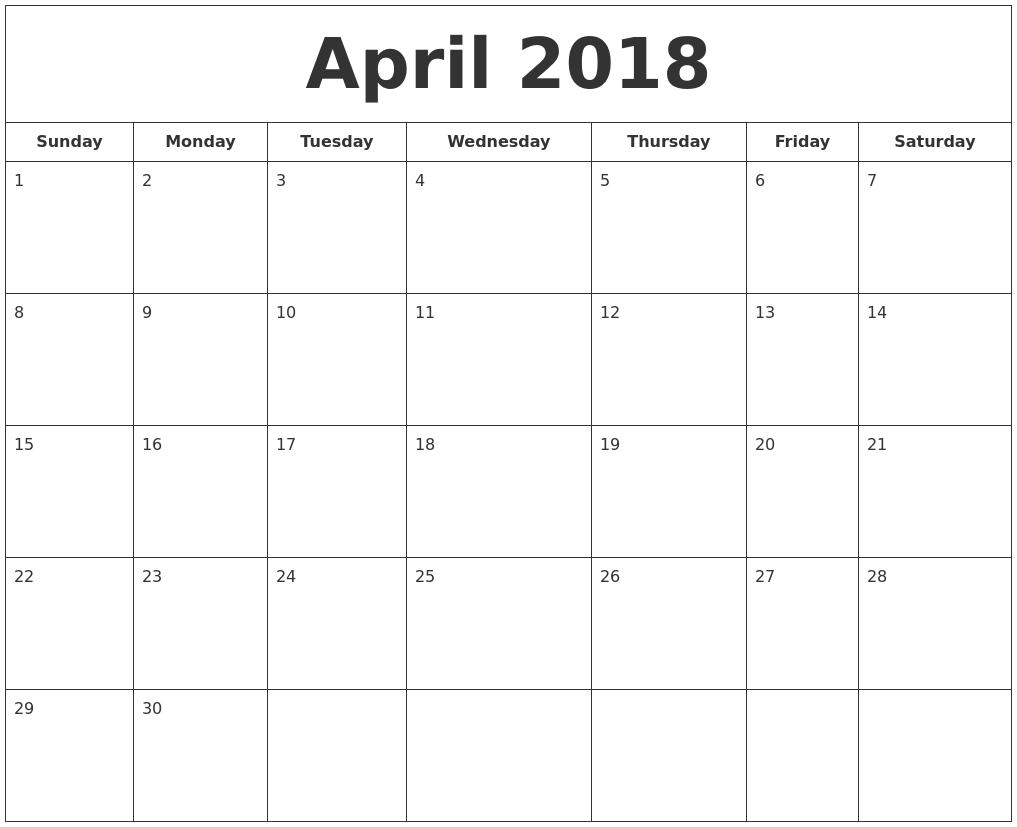 April 2018 Printable Calendar April 2018 Printable Calendar April 2018 Printable Calendar