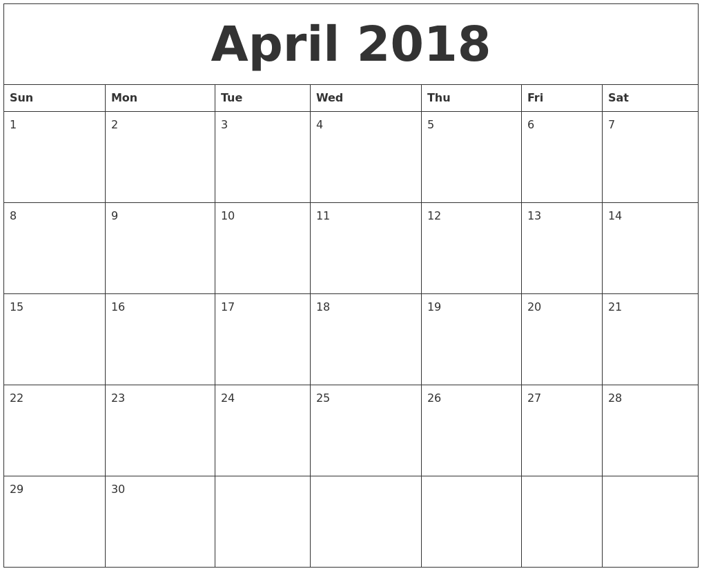 Blank Calendar Page April : March calendar month