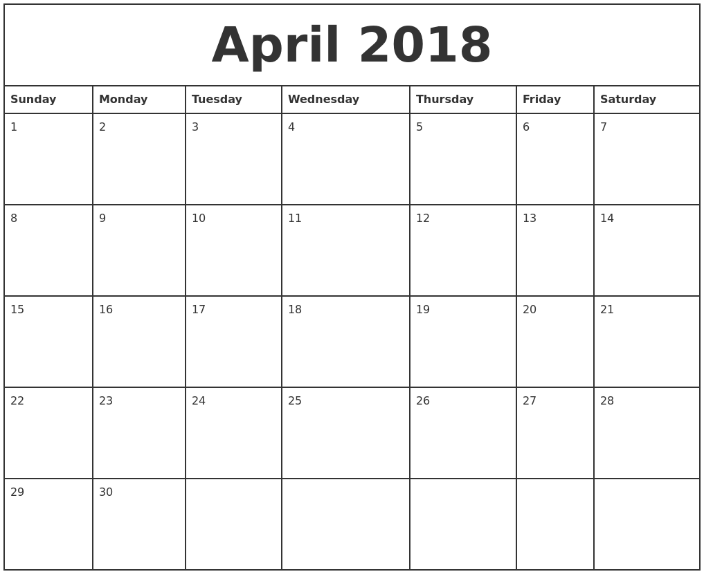 April 2018 Printable Monthly Calendar