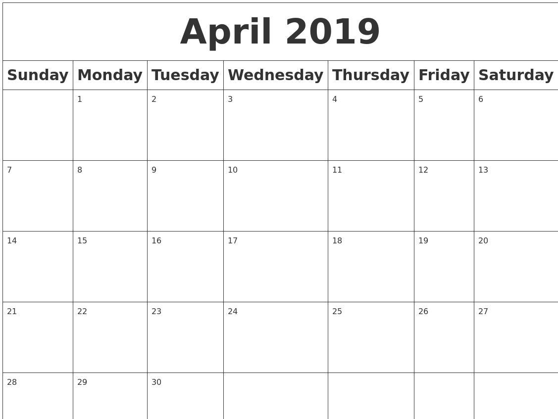 Image result for april 2019 calendar