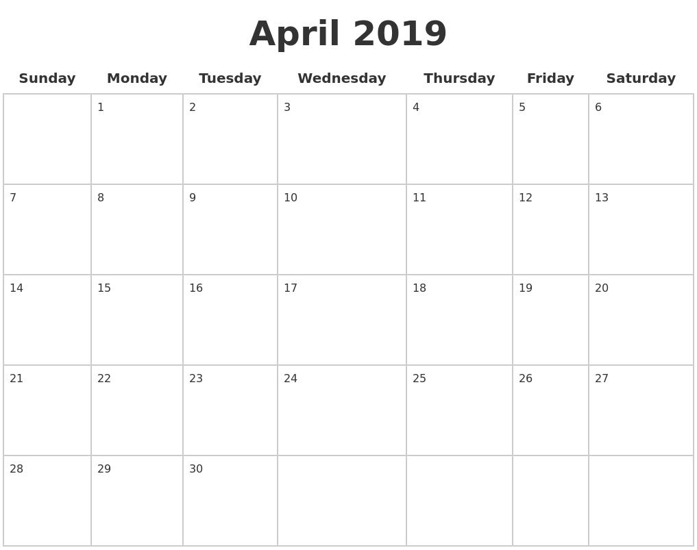 april 2019 blank calendar pages