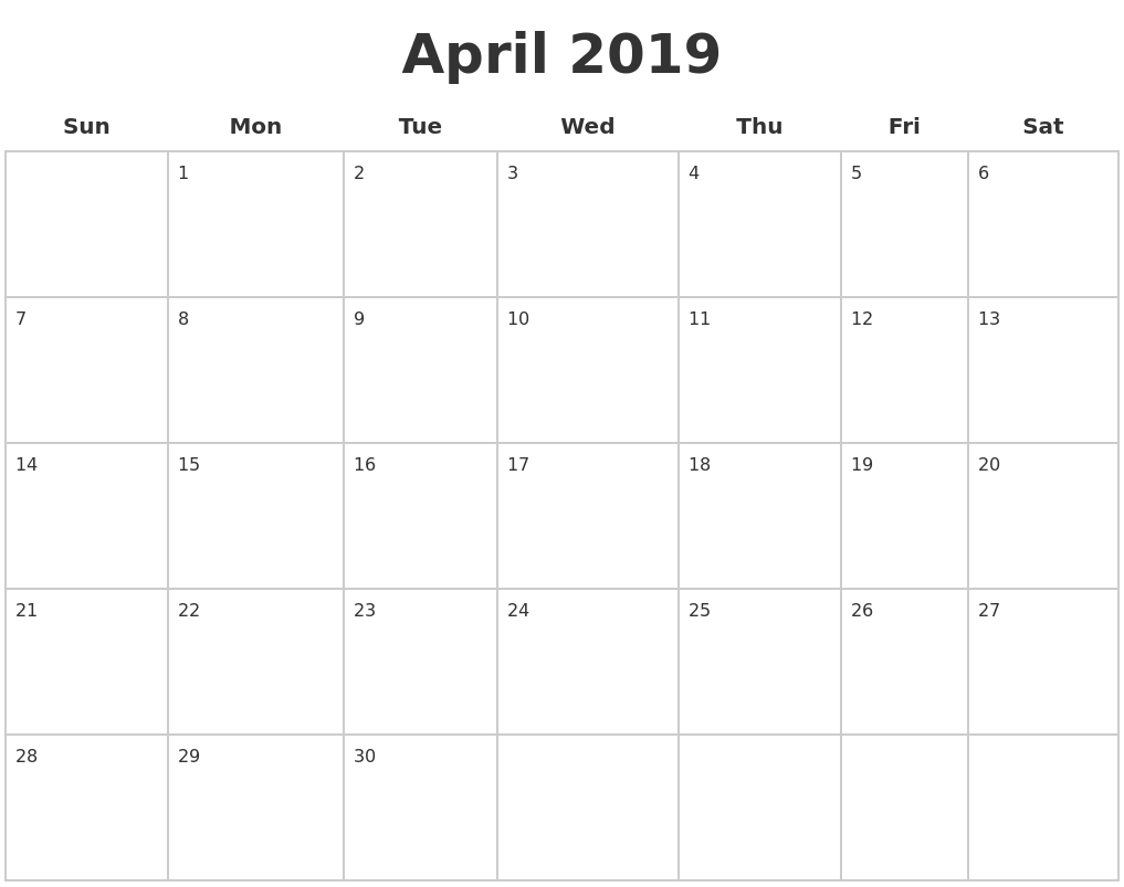 April 2019 Blank Calendar Pages