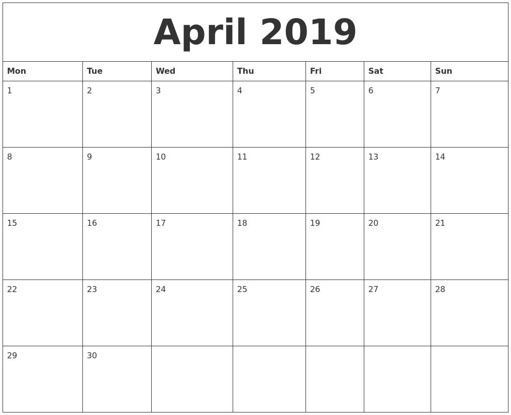 April 2019 Blank Calendar To Print PDF's
