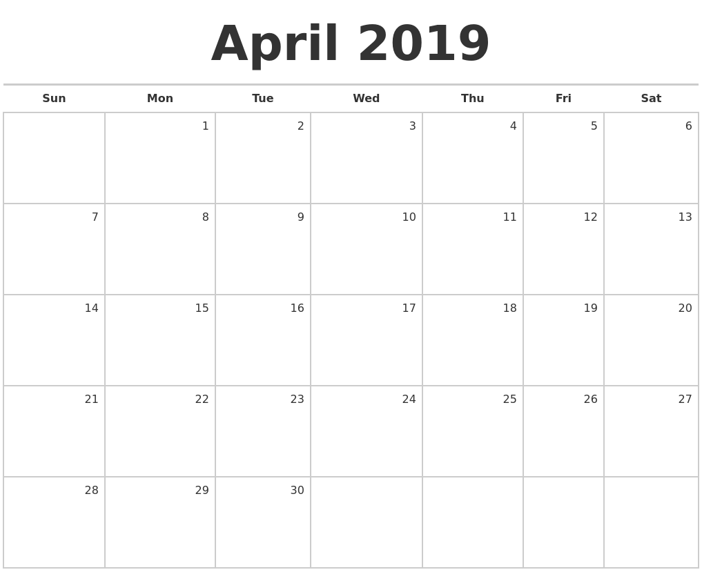 April 2019 Blank Monthly Calendar