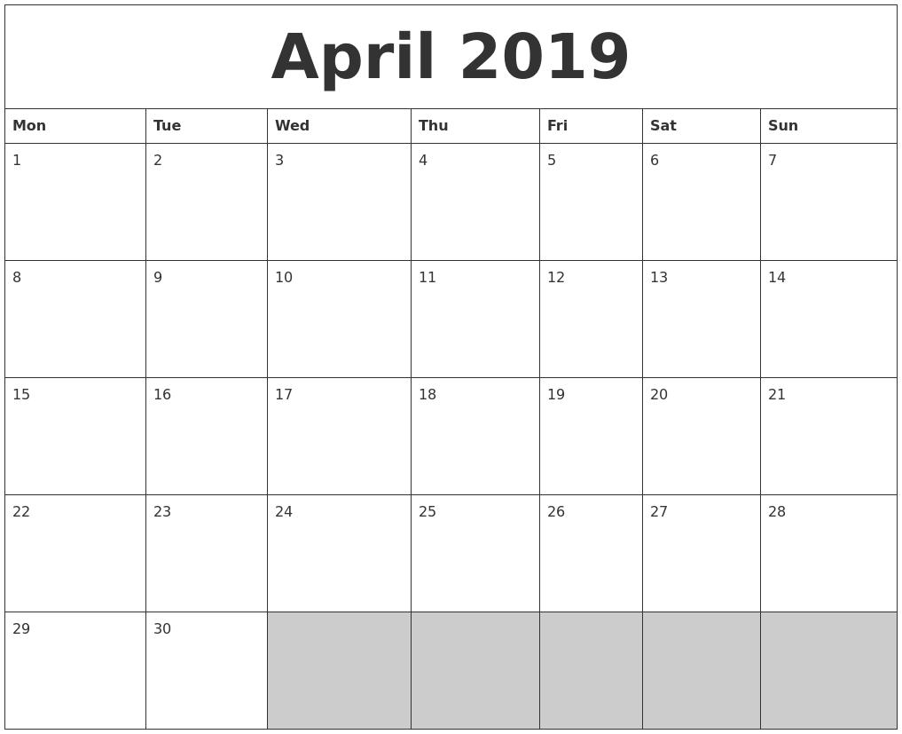 april 2019 blank printable calendar