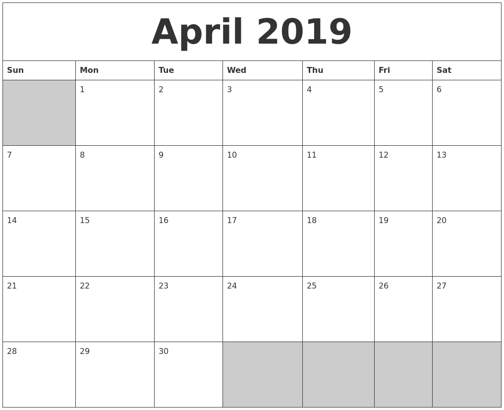 graphic relating to Printable Calendar April named April 2019 Blank Printable Calendar