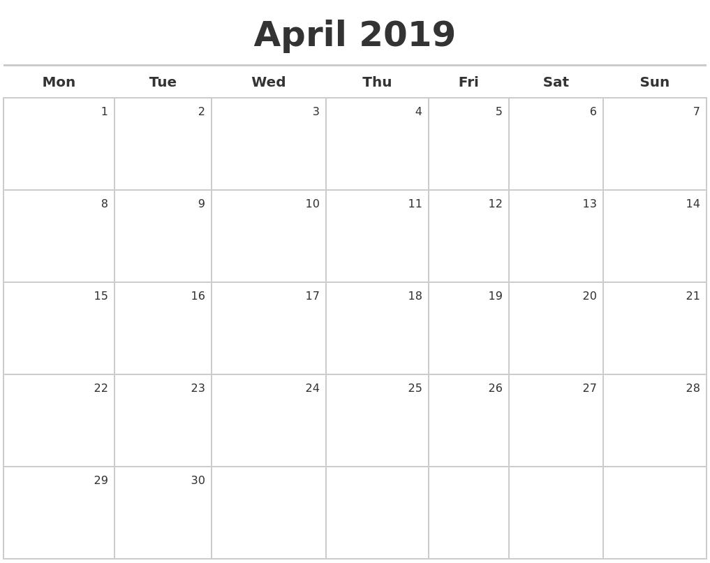 Calendar Monday Start : April calendar maker