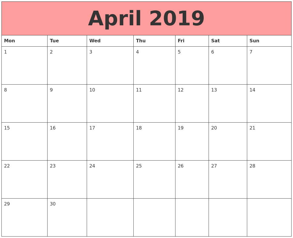 April 2019 Calendars That Work