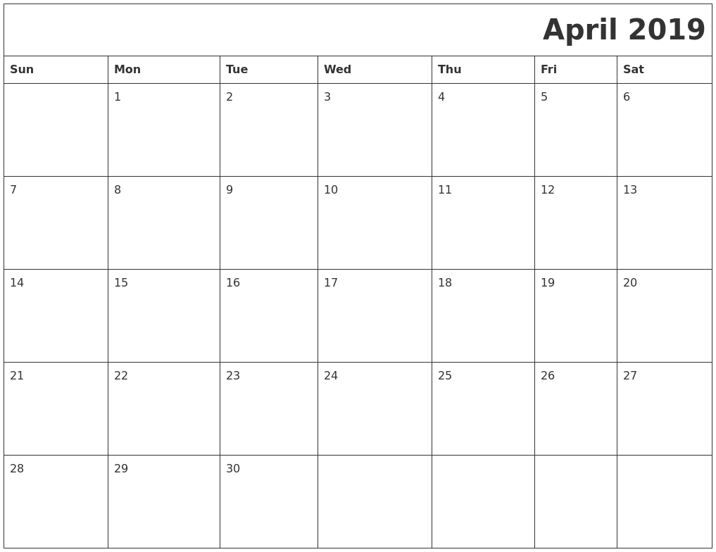 April 2019 Download Calendar