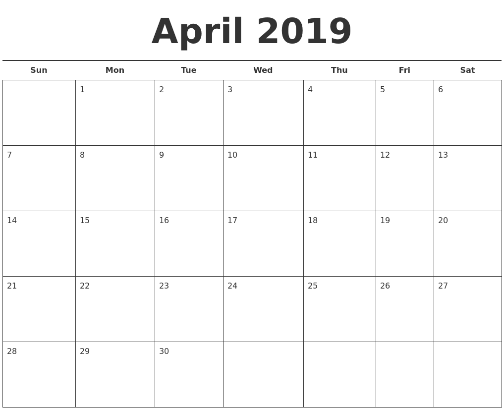 april 2019 free calendar template