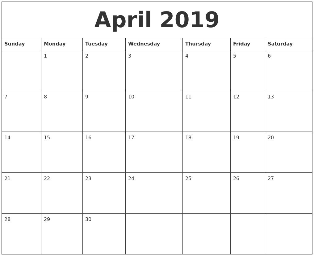 April 2019 Free Downloadable Calendar